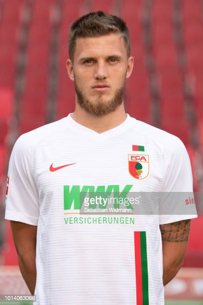 Jeffrey Gouweleeuw of FC Augsburg poses during the team presentation at WWK Arena on August 9 2018 in Augsburg Germany