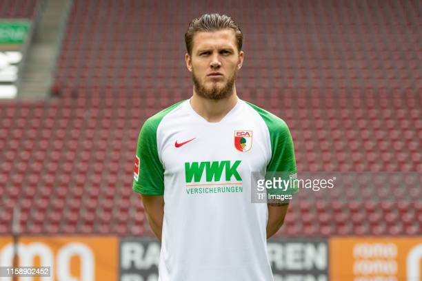 Jeffrey Gouweleeuw of FC Augsburg poses during the team presentation on July 31, 2019 in Augsburg, Germany.