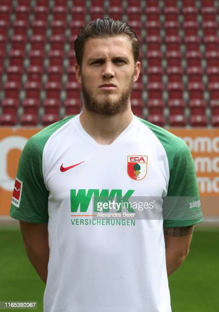 Jeffrey Gouweleeuw of FC Augsburg poses during the team presentation at WWK-Arena on July 31, 2019 in Augsburg, Germany.