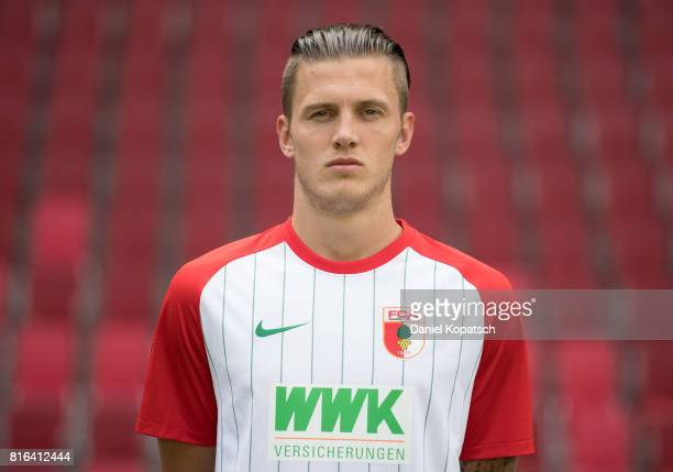 Jeffrey Gouweleeuw of FC Augsburg poses during the team presentation at WWK Arena on July 17 2017 in Augsburg Germany