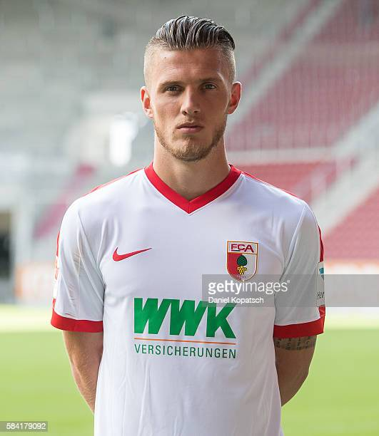 Jeffrey Gouweleeuw poses during the Team Presentation of FC Augsburg on July 28 2016 in Augsburg Germany
