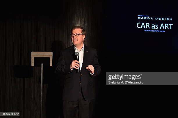 Jeffrey H Guyton Managing Executive Officer President and CEO Mazda Motor Europe GmbH speaks during the Mazda Design press conference as a part of...