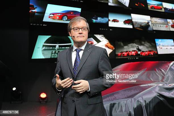 Jeffrey H Guyton President and CEO Mazda Motor Europe GmbH talks at the Mazda press conference during the Frankfurt Motor Show on September 15 2015...