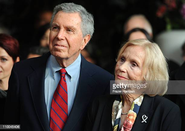 Jeffrey Hayden and actress Eva Marie Saint recipient of the officer des arts Lettres medal attends the Reception Of France Hosted By French Minister...