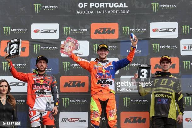 Jeffrey Herlings in KTM of Red Bull KTM Factory Racing Antonio Cairoli in KTM of Red Bull KTM Factory Racing and Tim Gajser in Honda of Team HRC in...