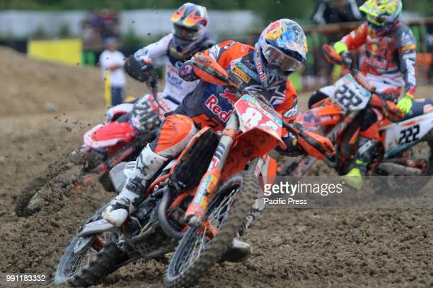 Jeffrey Herlings of Red Bull KTM Factory Racing Team Tim Gajser of Team HRC and Antonio Cairoli of Red Bull KTM Factory Racing Team competes during...