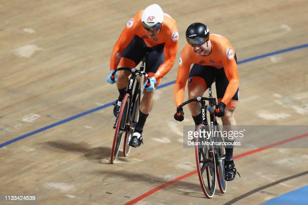 Jeffrey Hoogland and Harrie Lavreysen both of the Netherlands compete in the Men's sprint gold medal race on day five of the UCI Track Cycling World...