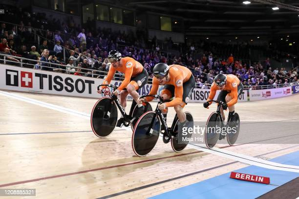 Jeffrey Hoogland, Harrie Lavreysen and Roy van den Berg of The Netherlands compete during Men's Team Sprint Final during day 1 of the UCI Track...