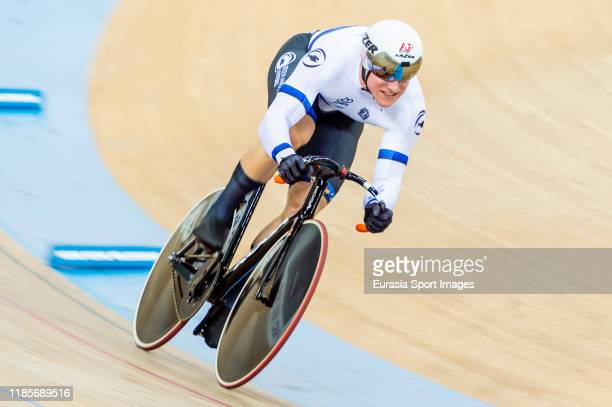 Jeffrey Hoogland of Netherlands competes in the Men's Sprint Qualifying 200m tt during the day three of the UCI Track Cycling World Cup at Hong Kong...