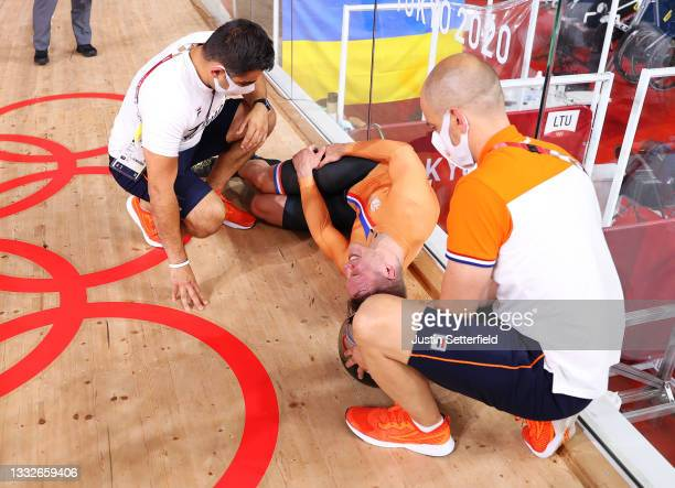 Jeffrey Hoogland of Team Netherlands reacts to winning a silver medal during he Men's sprint finals, decider results of the track cycling on day...