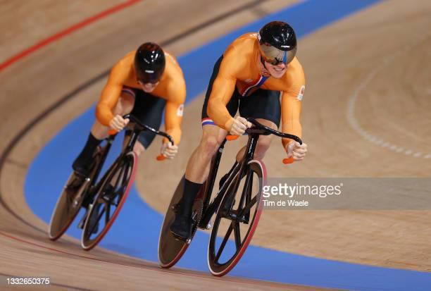 Jeffrey Hoogland of Team Netherlands sprints ahead of Harrie Lavreysen of Team Netherlands during the Men's sprint finals race 1, heat 2 of the track...