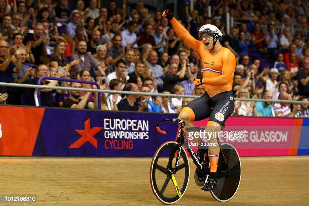 Jeffrey Hoogland of the Netherlands celebrates winning the gold medal in the Men's Sprint Final during the track cycling on Day five of the European...