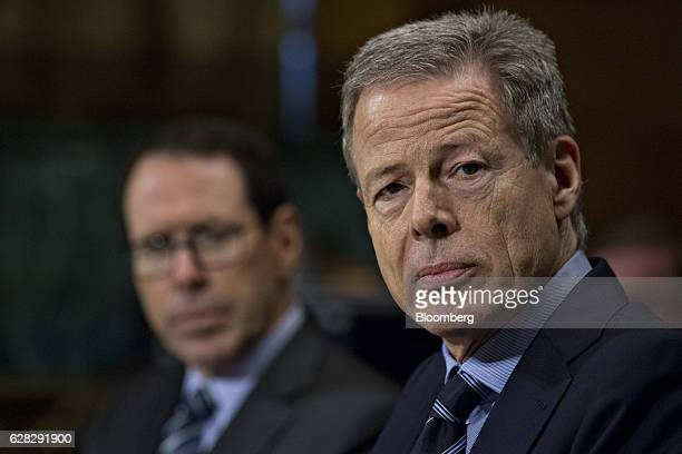 Jeffrey Jeff Bewkes chairman and chief executive officer of Time Warner Inc listens during a Senate Judiciary Subcommittee hearing in Washington DC...