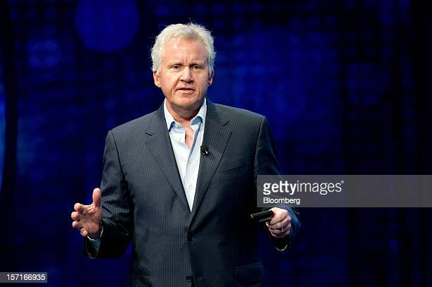 Jeffrey ' Jeff' Immelt chairman and chief executive officer of General Electric Co speaks during a keynote address at the Minds Machines 2012...