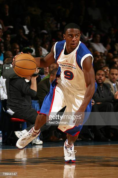 Jeffrey Jordan of the Royal team pushes the ball upcourt against the Yellow team during the 2007 Jordan Brand AllAmerican Classic at Madison Square...