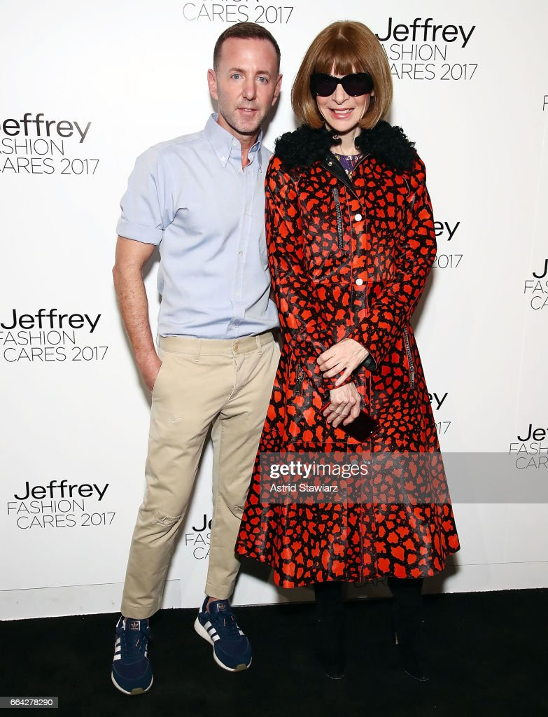 Jeffrey Kalinsky and Anna Wintour attend Jeffrey Fashion Cares 2017 at Intrepid Sea-Air-Space Museum on April 3, 2017 in New York City.