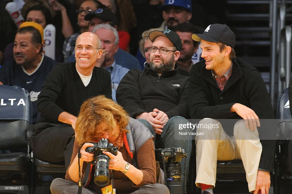Jeffrey Katzenberg (L) and Ashton Kutcher attend a basketball game between the Indiana Pacers and the Los Angeles Lakers at Staples Center on November 27, 2012 in Los Angeles, California.