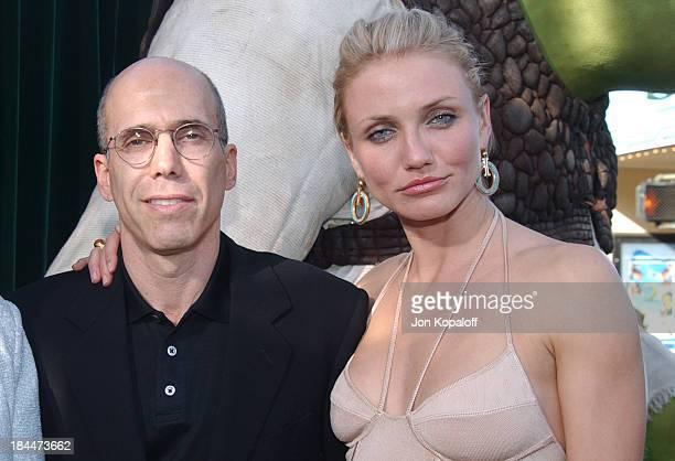 "Jeffrey Katzenberg and Cameron Diaz during ""Shrek 2"" Los Angeles Premiere - Green Carpet at Mann Village Theatre in Westwood, California, United..."