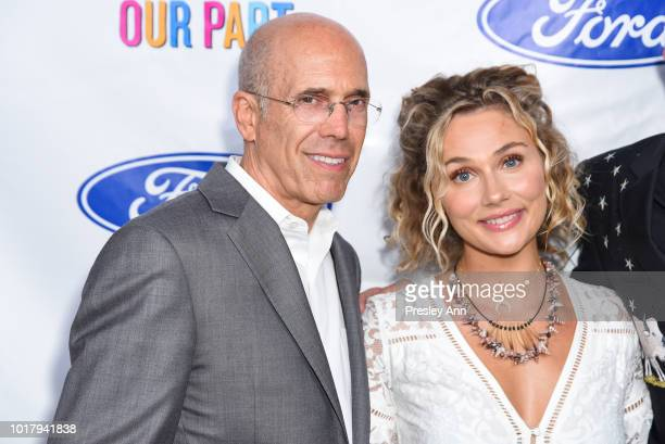 Jeffrey Katzenberg and Clare Bowen attend MPTF's Annual NextGen Summer Party at Paramount Pictures on August 16 2018 in Los Angeles California