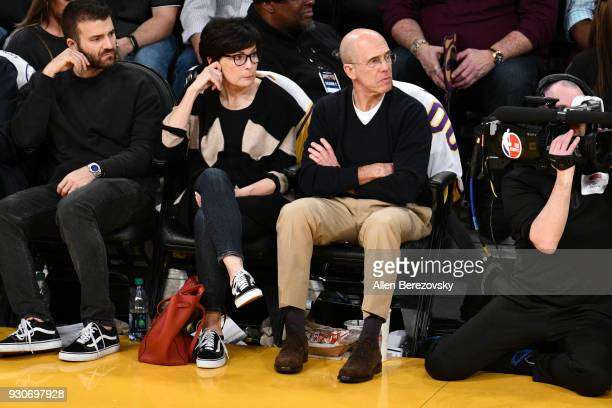 Jeffrey Katzenberg and Marilyn Katzenberg attend a basketball game between the Los Angeles Lakers and the Cleveland Cavaliers at Staples Center on...