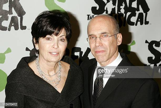 """Jeffrey Katzenberg and Marilyn Katzenberg attend the opening night party for """"Shrek The Musical"""" on Broadway at the Plaza hotel on December 14, 2008..."""