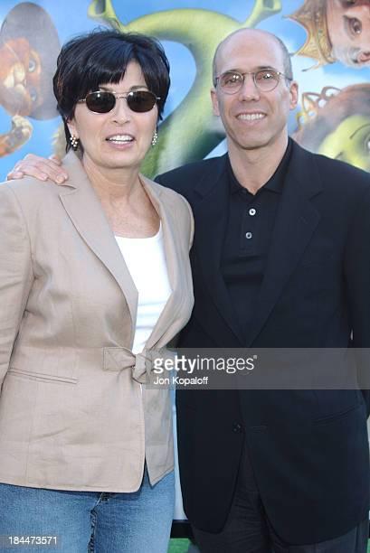 "Jeffrey Katzenberg and wife Marilyn during ""Shrek 2"" Los Angeles Premiere - Green Carpet at Mann Village Theatre in Westwood, California, United..."