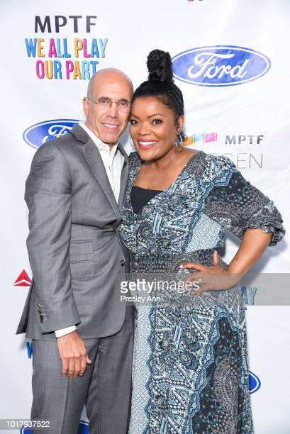 Jeffrey Katzenberg and Yvette Nicole Brown attend MPTF's Annual NextGen Summer Party at Paramount Pictures on August 16 2018 in Los Angeles California