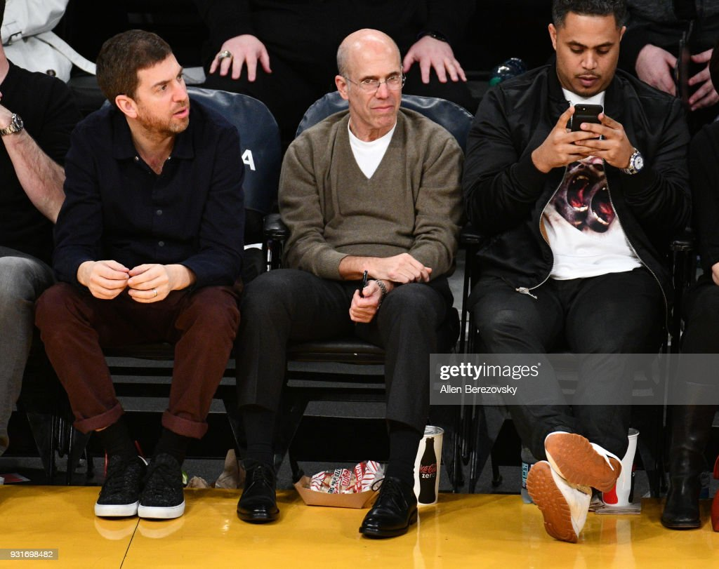 Jeffrey Katzenberg attends a basketball game between the Los Angeles Lakers and the Denver Nuggets at Staples Center on March 13, 2018 in Los Angeles, California.