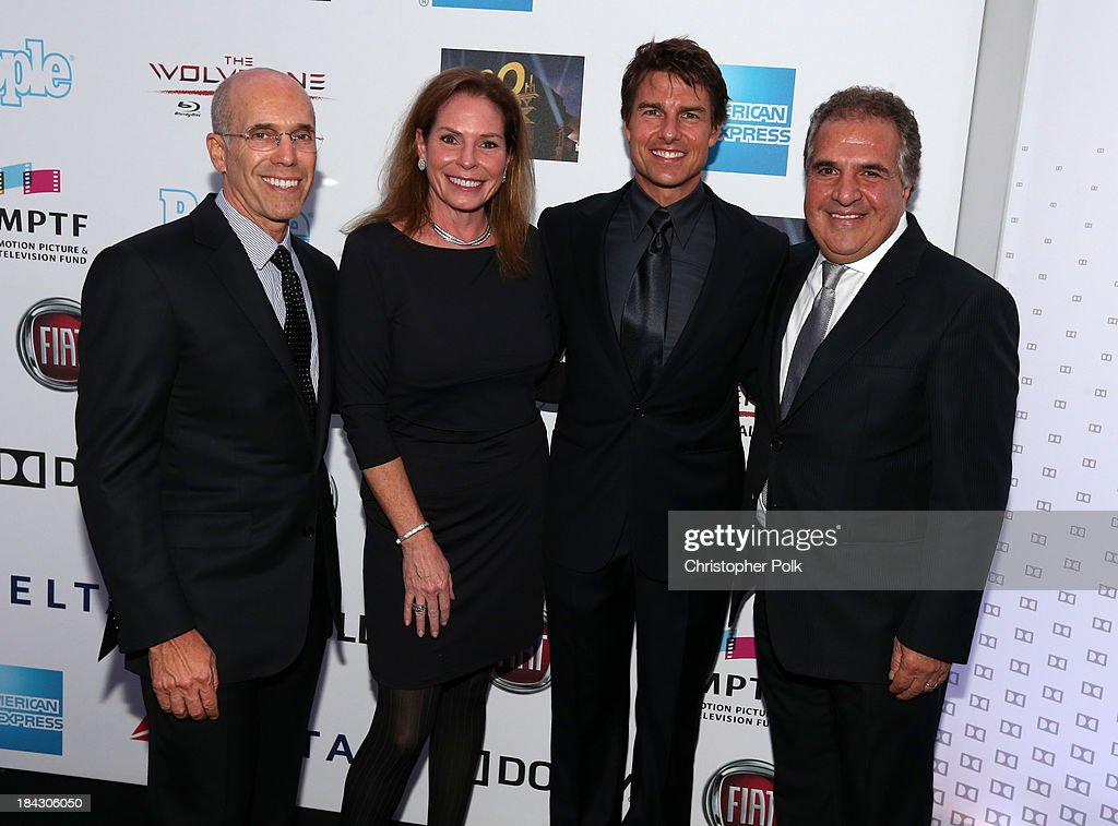 Jeffrey Katzenberg, Barbara Zweig, CEO of DreamWorks Animation, actor Tom Cruise and Chairman & Chief Executive Officer of Fox Filmed Entertainment Jim Gianopulos attend 'Hugh Jackman... One Night Only' Benefiting MPTF at Dolby Theatre on October 12, 2013 in Hollywood, California.