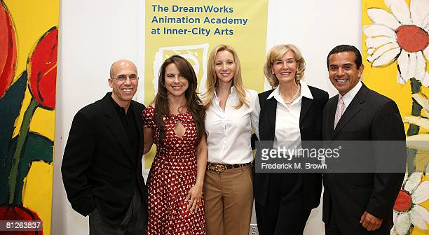 Jeffrey Katzenberg CEO of DreamWorks Animation SKG Kate del Castillo actress Lisa Kudrow Cynthia Harnisch CE0 of InnerCity Arts and Los Angeles Mayor...