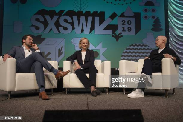 Jeffrey Katzenberg chairman and founder of Quibi SA right speaks while Meg Whitman chief executive officer of Quibi SA center and Dylan Byers senior...