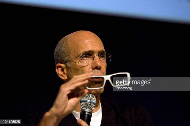 Jeffrey Katzenberg chief executive officer of DreamWorks Animation SKG Inc holds a pair of 3D glasses designed by Oakley Inc while speaking at the 3D...