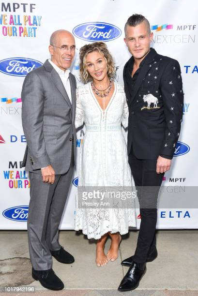 Jeffrey Katzenberg Clare Bowen and Brandon Robert Young attend MPTF's Annual NextGen Summer Party at Paramount Pictures on August 16 2018 in Los...