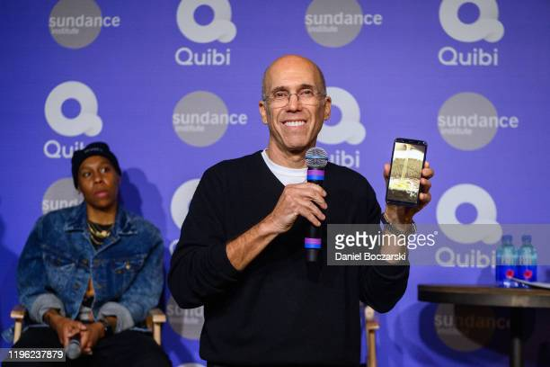 Jeffrey Katzenberg demonstrates Quibi's Turnstyle technology at Sundance 2020 on January 24 2020 in Park City Utah