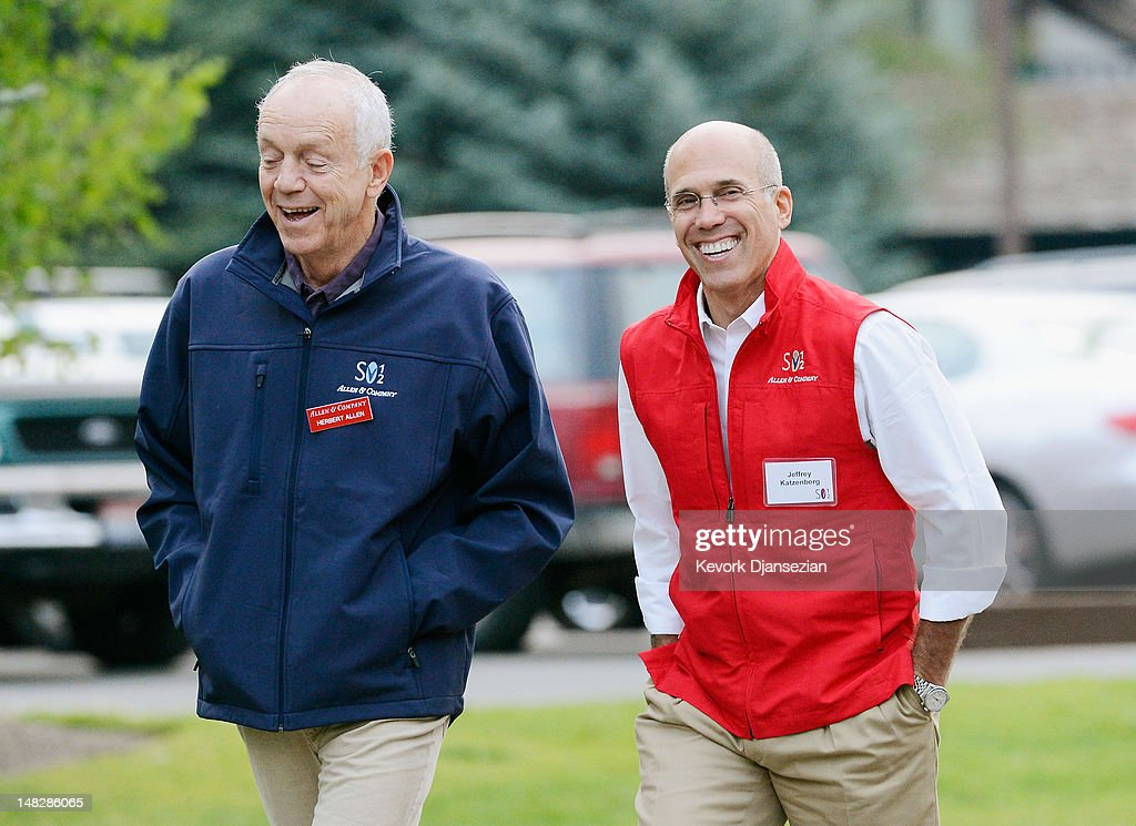 Jeffrey Katzenberg, (R) film producer and CEO of DreamWorks Animation and Herbert Allen, partner in Allen & Company , walk to attend the morning meeting during the Allen & Company Sun Valley Conference on July 13, 2012 in Sun Valley, Idaho. The conference has been hosted annually by the investment firm Allen & Company each July since 1983. The conference is typically attended by many of the world's most powerful media executives.