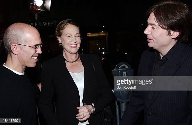 """Jeffrey Katzenberg, Julie Andrews and Mike Myers during DreamWorks Celebrates The DVD Release of """"Shrek 2"""" at Spago in Beverly Hills, California,..."""