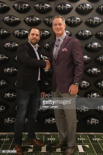 Jeffrey King of the North Texas Food Bank and Daryl Johnston attend the Fashion Football Event at Saks Off 5TH> on April 25 2018 in Grand Prairie...