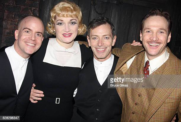 Jeffrey Kuhn Francesca Faridany Arnie Burton and Sean Mahon pose backstage as Alfred Hitchcock's hit comedy 39 Steps returns to Broadway at the Helen...