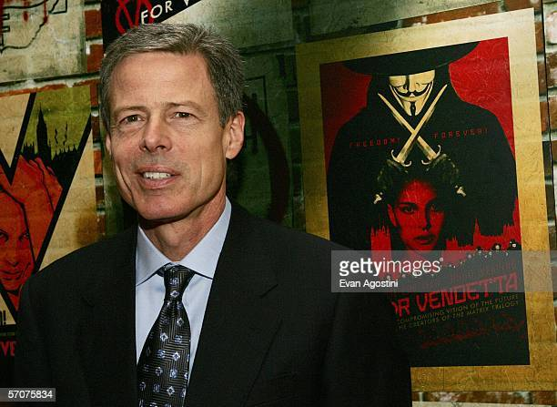 Jeffrey L Bewkes president and COO of Time Warner Inc arrives at the Warner Bros premiere of V for Vendetta at the Rose Theater on March 13 2006 in...