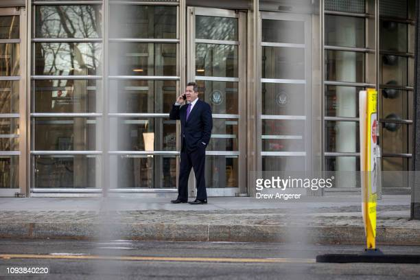 Jeffrey Lichtman attorney for Joaquin 'El Chapo' Guzman takes a phone call outside of the US District Court for the Eastern District of New York...