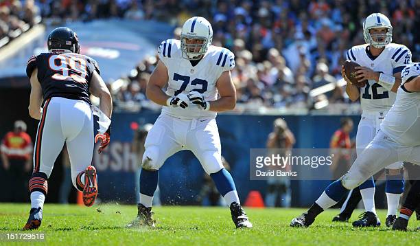 Jeffrey Linkenbach of the Indianapolis Colts blocks for Andrew Luck against the Chicago Bears on September 9 2012 during their 2012 NFL season opener...