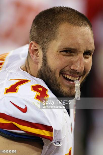 Jeffrey Linkenbach of the Kansas City Chiefs on the bench during the fourth quarter of a preseason game against the Green Bay Packers on August 28...