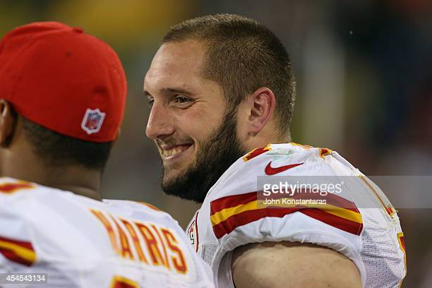 Jeffrey Linkenbach of the Kansas City Chiefs on the sidelines during the preseason game against the Green Bay Packers on August 28 2014 at Lambeau...