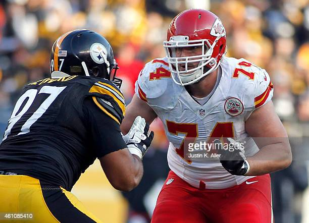 Jeffrey Linkenbach of the Kansas City Chiefs plays against the Pittsburgh Steelers on December 21 2014 at Heinz Field in Pittsburgh Pennsylvania
