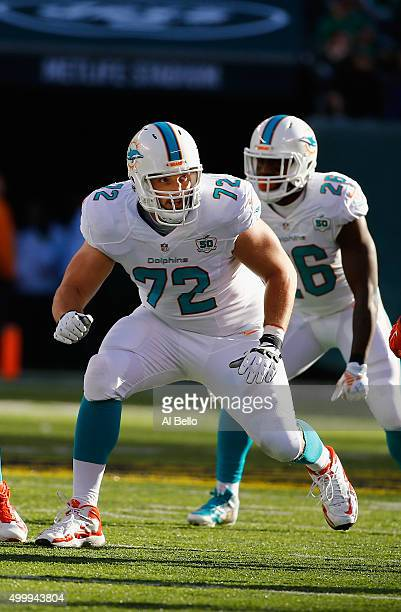 Jeffrey Linkenbach of the Miami Dolphins in action against the New York Jets during their game at MetLife Stadium on November 29 2015 in East...