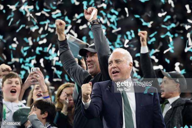 Jeffrey Lurie owner of the Philadelphia Eagles and head coach Doug Pederson celebrate their teams 41-33 victory over the New England Patriots in...