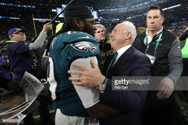 Jeffrey Lurie owner of the Philadelphia Eagles and LeGarrette Blount celebrate their teams 41-33 victory over the New England Patriots in Super Bowl...