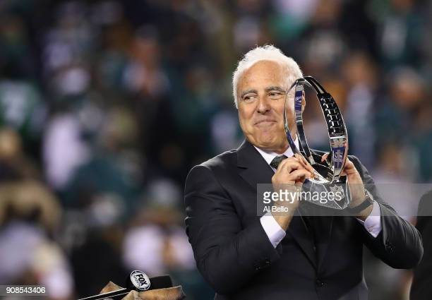 Jeffrey Lurie owner of the Philadelphia Eagles holds the George Halas Trophy after his team defeated the Minnesota Vikings in the NFC Championship...