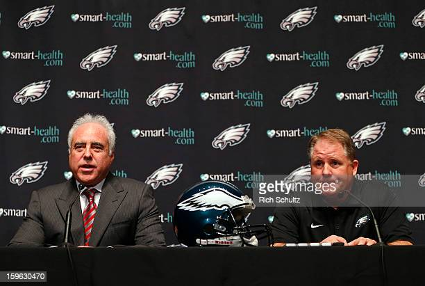 Jeffrey Lurie , owner of the Philadelphia Eagles, introduces Chip Kelly as the new head coach during a news conference at the team's NovaCare Complex...