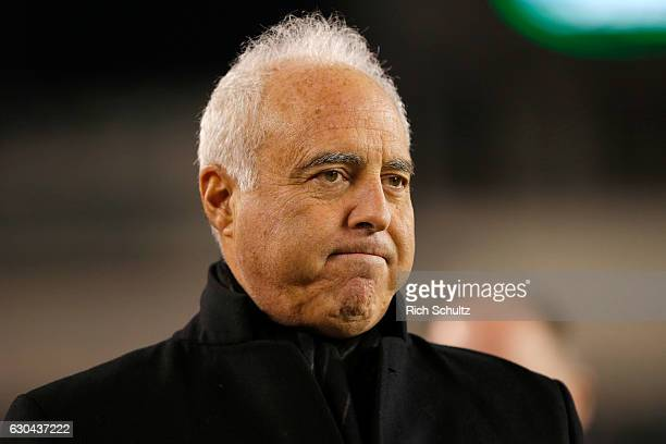 Jeffrey Lurie, owner of the Philadelphia Eagles looks on prior to the game against the New York Giants at Lincoln Financial Field on December 22,...